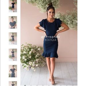 Dresses & Skirts - Navy blue ruffle sleeve dress